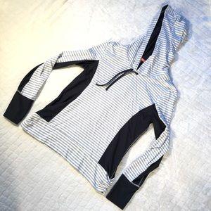 MPG gray & white stripe w black athletic hoodie/ L